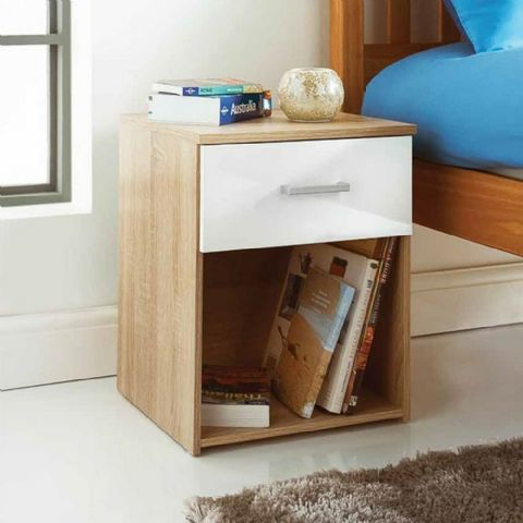 Oak Effect Bedside Table with White Drawer